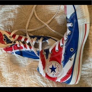 Red white and Blue converse. United Kingdom flag!
